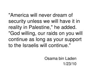 Osama bin Laden 1/23/10
