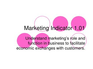Marketing Indicator 1.01