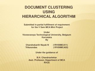 DOCUMENT CLUSTERING  USING  HIERARCHICAL ALGORITHM