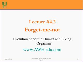 Lecture #4.2 Forget-me-not Evolution of Self in Human and Living Organism AWE-edu