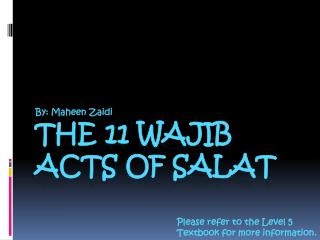 The 11 wajib acts of Salat