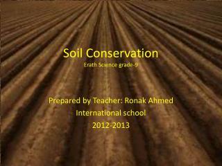 Soil Conservation Erath Science grade-9