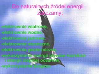 Do naturalnych źródeł energii    zaliczamy: