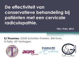 EJ Thoomes ,  GGM Scholten-Peeters, BM Koes, D Falla, AP Verhagen