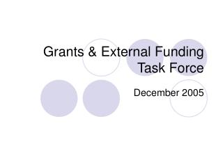 Grants & External Funding Task Force