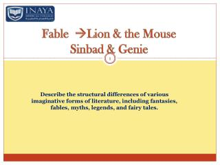 Fable    Lion & the Mouse Sinbad & Genie