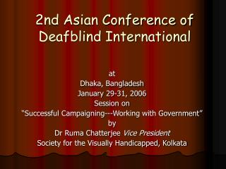 2nd Asian Conference of Deafblind International