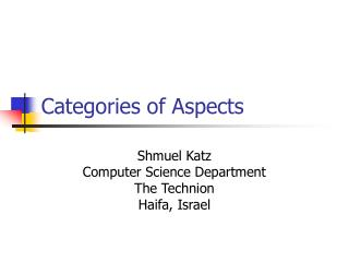 Categories of Aspects