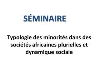 Typologie  des minorités dans des sociétés africaines  plurielles et  dynamique sociale