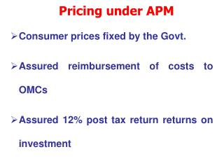Pricing under APM