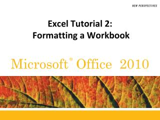 Excel Tutorial  2:  Formatting a Workbook