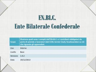 EN.BI.C . Ente Bilaterale Confederale