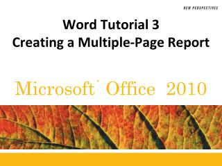 Word Tutorial  3 Creating a Multiple-Page Report