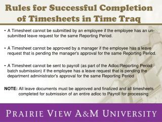 Rules for Successful Completion of Timesheets in Time Traq