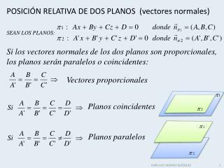 POSICIÓN RELATIVA DE DOS PLANOS  (vectores normales)