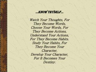 �Know Thyself�