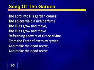 Song Of The Garden
