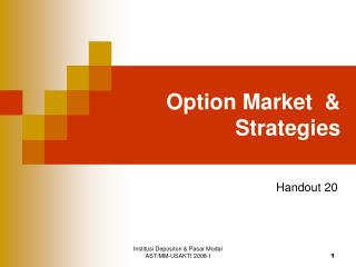 Option Market  & Strategies