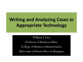 Writing and Analyzing Cases in Appropriate Technology
