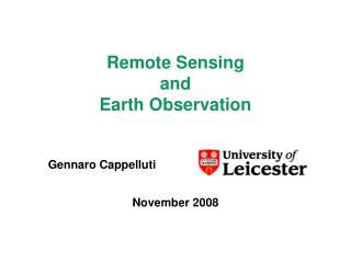 Remote Sensing and Earth Observation