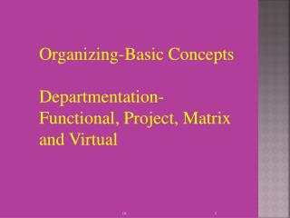 Organizing-Basic Concepts Departmentation- Functional, Project, Matrix and Virtual