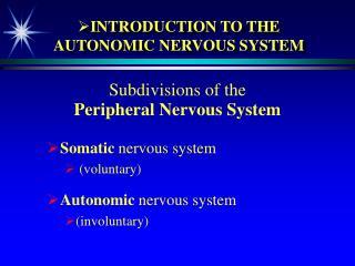 INTRODUCTION TO THE AUTONOMIC NERVOUS SYSTEM
