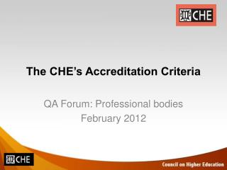 The CHE's Accreditation Criteria