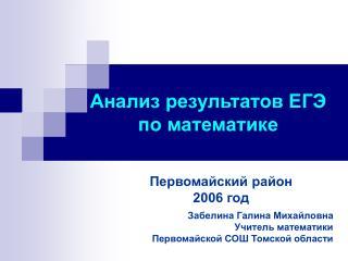 Анализ результатов ЕГЭ по математике