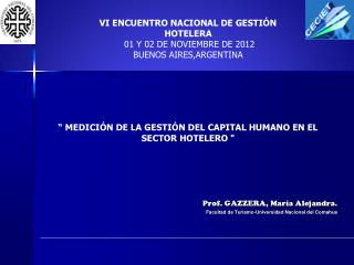 Prof. GAZZERA, María Alejandra. Facultad de Turismo-Universidad Nacional del  Comahue