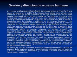 Gestión y dirección de recursos humanos