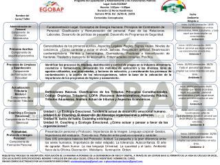 Programa de Capacitaci�n y Adiestramiento a los Funcionarios P�blicos Lugar: Sede EGOBAP