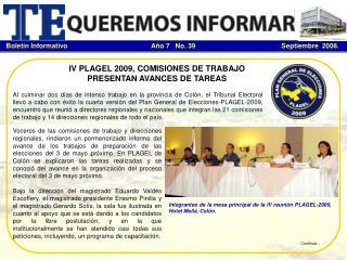 IV PLAGEL 2009, COMISIONES DE TRABAJO PRESENTAN AVANCES DE TAREAS