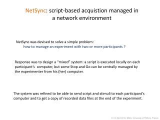 NetSync : script-based acquistion managed in a network environment
