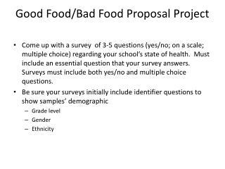 Good Food/Bad Food Proposal Project