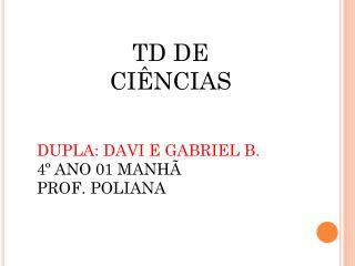 DUPLA: DAVI E GABRIEL B. 4º ANO 01 MANHÃ PROF. POLIANA