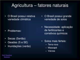 Agricultura – fatores naturais