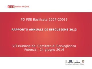 PO FSE Basilicata 2007-20013 RAPPORTO ANNUALE DI ESECUZIONE  2013
