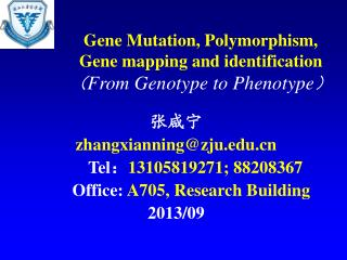 Gene Mutation, Polymorphism,  Gene mapping and identification ( From Genotype to Phenotype )