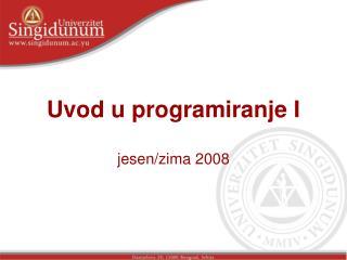 Uvod u programiranje I