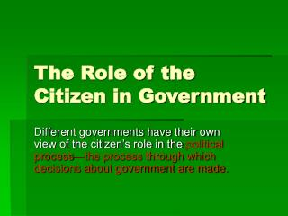 The Role of the Citizen in Government