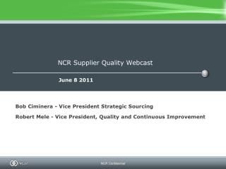 NCR Supplier Quality Webcast