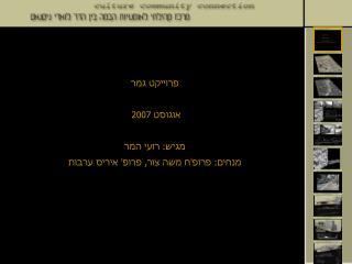 פרוייקט גמר אוגוסט 2007  מגיש: רועי המר מנחים: פרופ'ח משה צור, פרופ' איריס ערבות