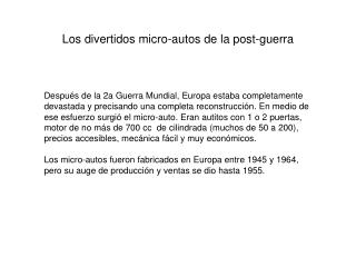 Los divertidos micro-autos de la post-guerra