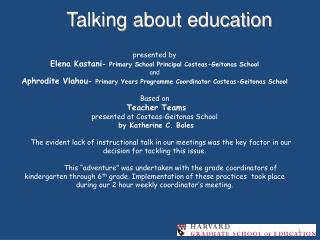 Talking about education