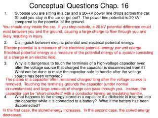 Conceptual Questions Chap. 16