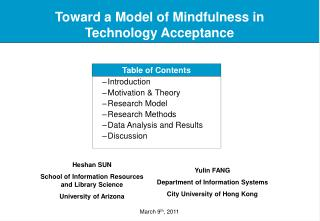 Toward a Model of Mindfulness in Technology Acceptance