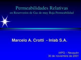 Permeabilidades Relativas  en Reservorios de Gas de muy Baja Permeabilidad