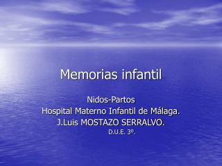Memorias infantil