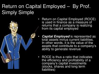 Return on Capital Employed –  By Prof. Simply Simple