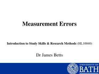 Measurement Errors